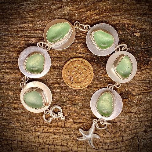 Seafoam Aqua Seaglass disc bracelet