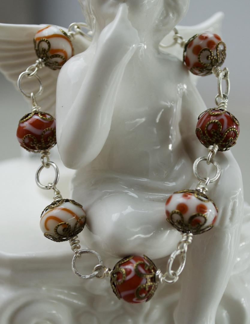 Brown Vintage Lampwork Bead Bracelet Bracelet