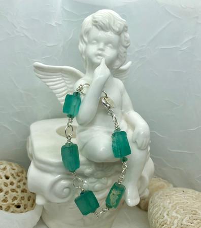 Tubular Aqua Roman Glass Bracelet
