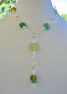 Lariat Roman Glass Necklace