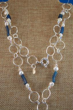 Dark Blue Roman Glass & Pearl Necklace