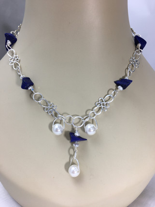 Lapis, Pearl, & Sterling Scrolls Necklace