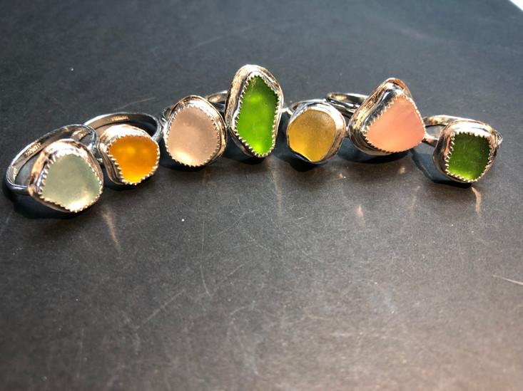 Pastel Sea Glass Rings