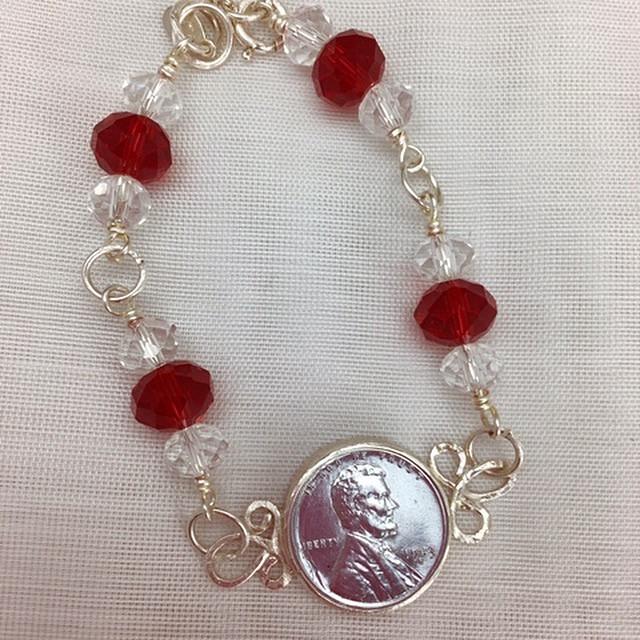 Vintage Crystals & Steel Penny Bracelet