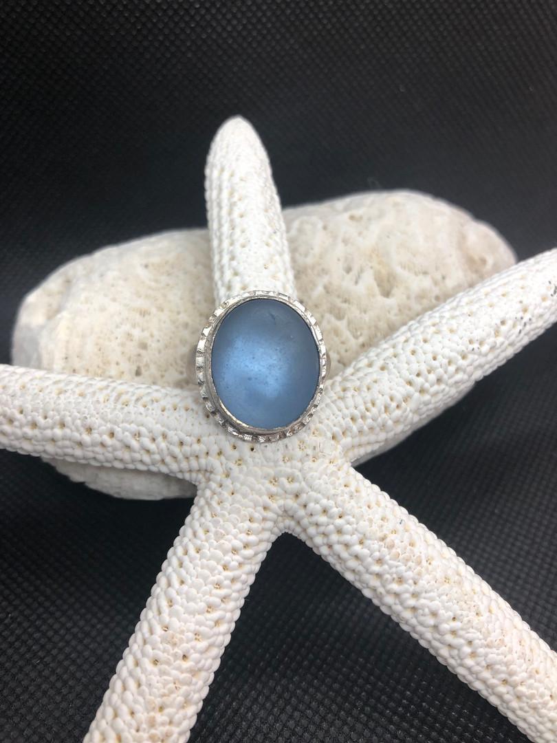 Cornflower blue sea glass ring