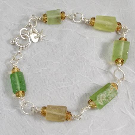 Green & Tan Tubular Roman Beads