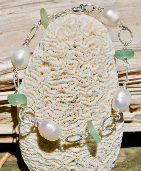 Seaglass & Large Rice Pearls