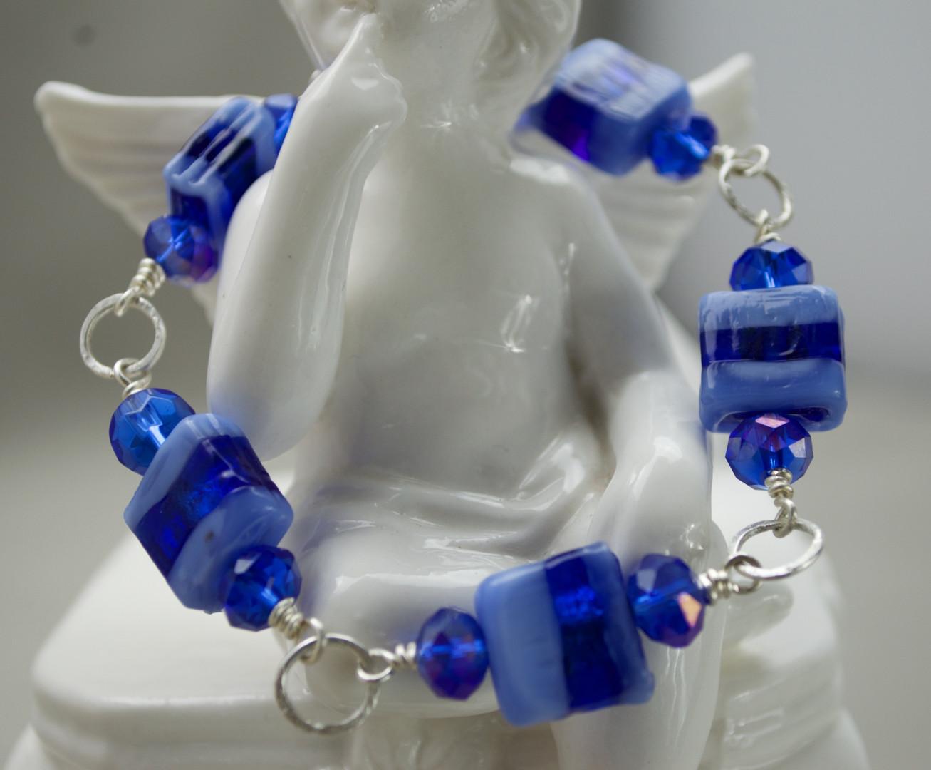 Blue Vingtage Lampwork Bead Bracelet
