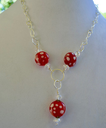 Red Vintage Lampwork Bead Necklace