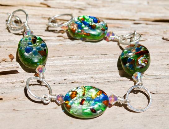 Multi-Colored Confetti Lampwork Bead Bracelet