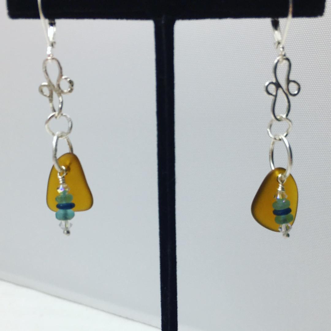 Brown Sea Glass Earri ngs