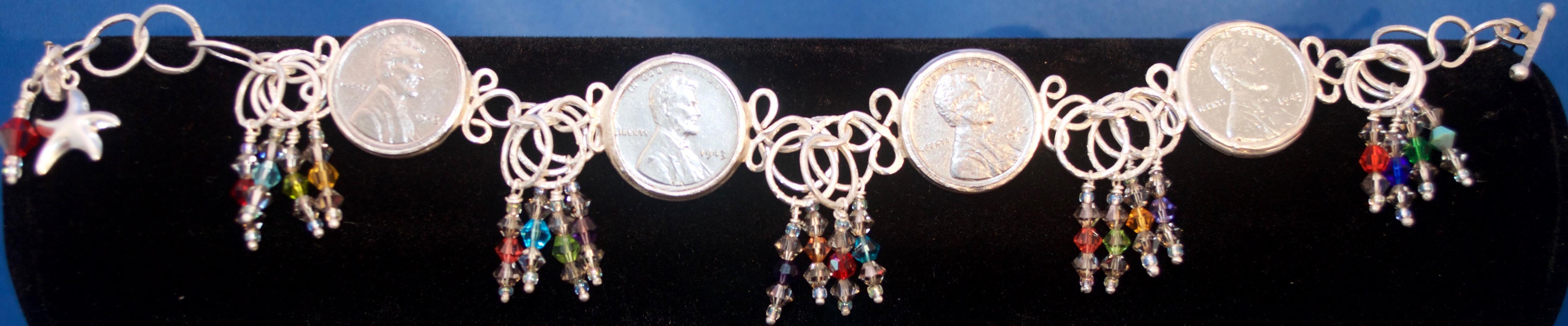 Steel Pennies and Swarovski Crystal Bracelet