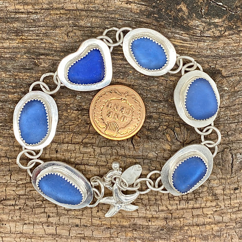 Cornflower and Cobalt Heart Bracelet