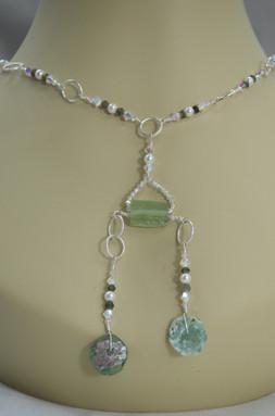 Roman Glass Assemetrica Pendant Necklace