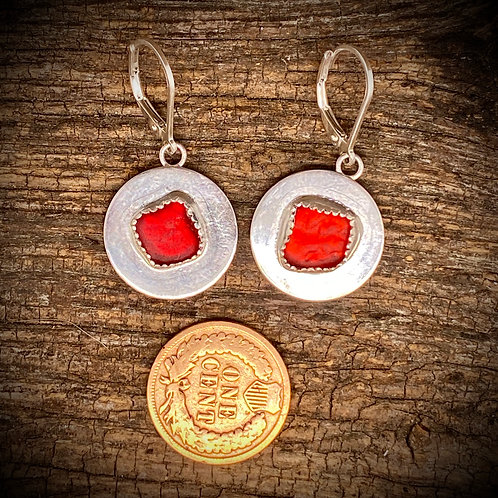 Bright Red Seaglass Disc Earrings