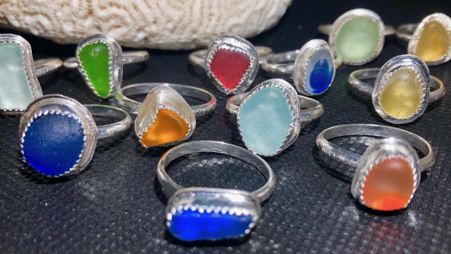 Sea Glass Rings