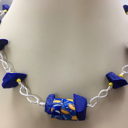 African Trade Bead & Lapis Necklace