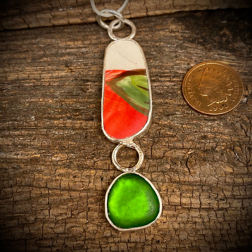 Red and Green Pottery with Matching Seaglass Pendant