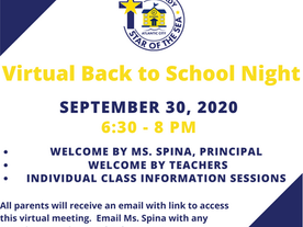 Virtual Back to School Night for All Grades- 9/30/20