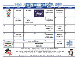 January Calendar of Activities and Events