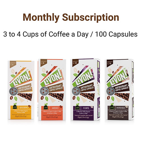 Monthly Subscription - 3 to 4 Coffees a Day (100 Capsules a month)