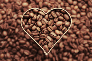Coffee beans in heart shape 1