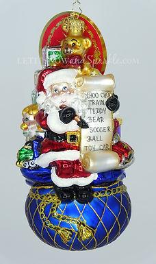 Christopher Radko One Last Check! Santa 1020154 Unique Christmas Ornament