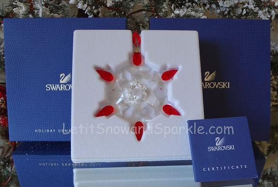 2010 Swarovski Annual Ornament with Light Siam Tips 1074802 Holiday Christmas