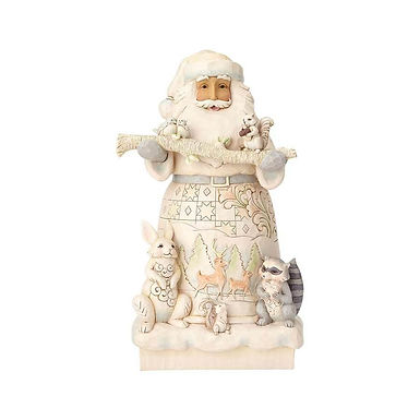 "Jim Shore 19"" Heartwood Creek White Woodland Santa Statue 6001406 New 2018"
