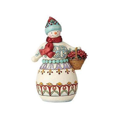 Jim Shore Heartwood Creek Wonderland Snowman with Basket 6001421 New 2018