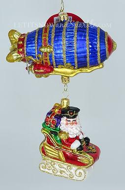 Christopher Radko Santa's Zipping Zeppelin 1020095 Unique Christmas Ornament