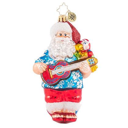 Christopher Radko Strummin His Four String Santa 1020772 Christmas Ornament