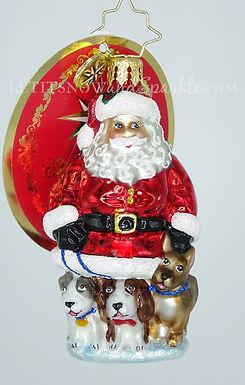 Christopher Radko Promenading Pups Gem Santa 1020229 Unique Christmas Ornament