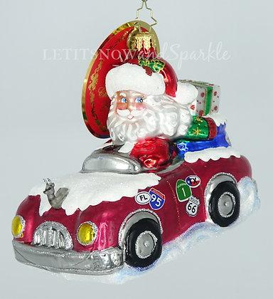 Christopher Radko A Cross Country Christmas Santa 1020120 Christmas Ornament