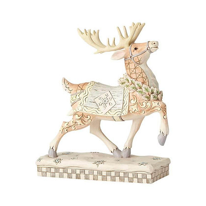 Jim Shore Heartwood Creek White Woodland Prancing Reindeer 6001412 New 2018
