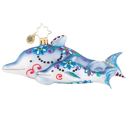 Christopher Radko Swimming Through Florals Dolphins 1020743 Christmas Ornament