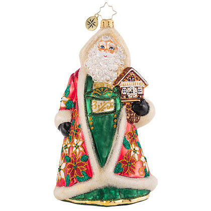 Christopher Radko Punctual In Poinsettias Santa 1020613 Christmas Ornament
