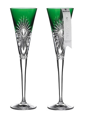 Waterford 2021 Times Square Emerald Flute Gifts of Happiness Pair 1055460