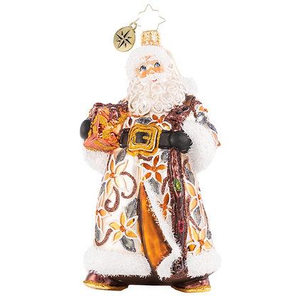 Christopher Radko Bountiful Basket Traveler Santa 1020618 Christmas Ornament