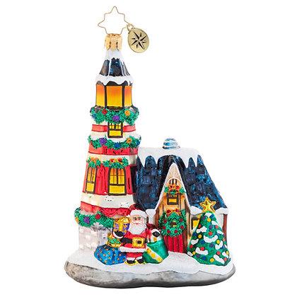 Christopher Radko Maritime Merriment Lighthouse Santa 1020573 Christmas Ornament