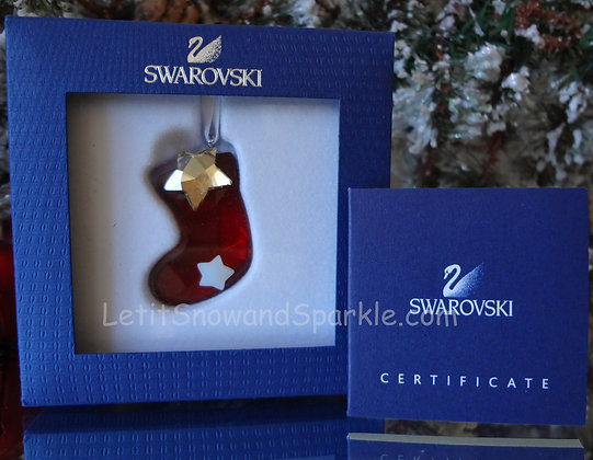 Swarovski Twinkling Stocking 1054568 Christmas Ornament Retired