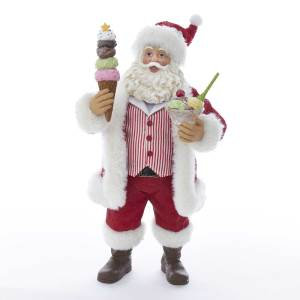 Kurt Adler C2524 11 inch Fabriche Santa with Ice Cream Sundae and Cone New 2018