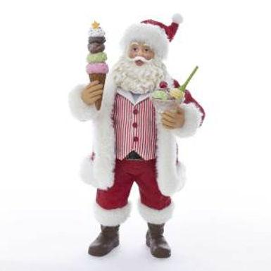 Kurt Adler C2524 11 inch Fabriche Santa with Ice Cream Sundae and Cone New 2018