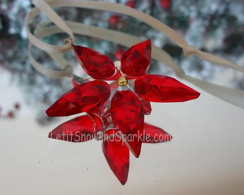 Swarovski Small Poinsettia Ornament 905210 Christmas Retired