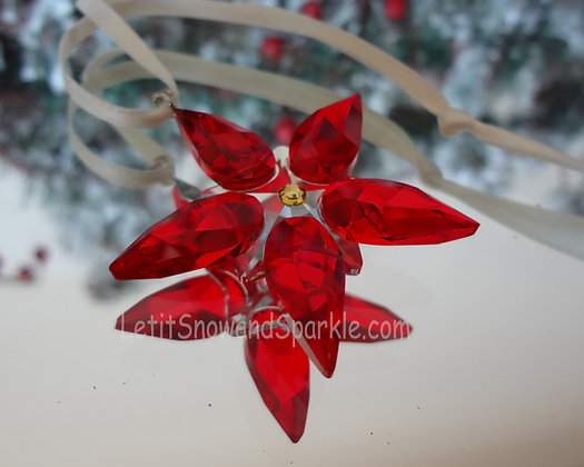 Swarovski Small Poinsettia Ornament 905210 Christmas Retired