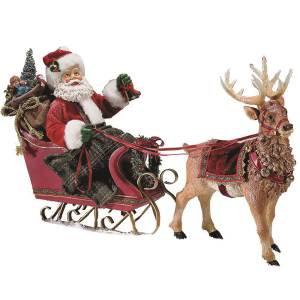 Kurt Adler C7339 Fabriche Santa in Sleigh with Reindeer New 2018