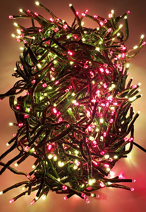 Raz Christmas Cluster LED Lights 20 Foot Garland with 600 RED and White Lights