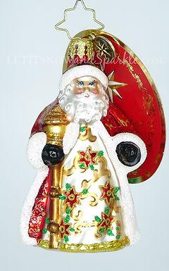 Christopher Radko Little Gem Poinsettia Passion Santa 1019172 Christmas Ornament