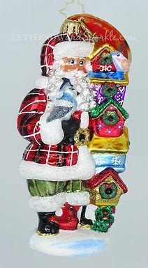 Christopher Radko Songbird Santa 1020082 Unique Christmas Ornament