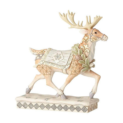 Jim Shore Heartwood Creek White Woodland Walking Reindeer 6001411 New 2018